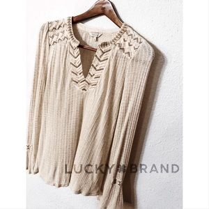 Lucky Brand embroidered thermal boho tunic NWOT